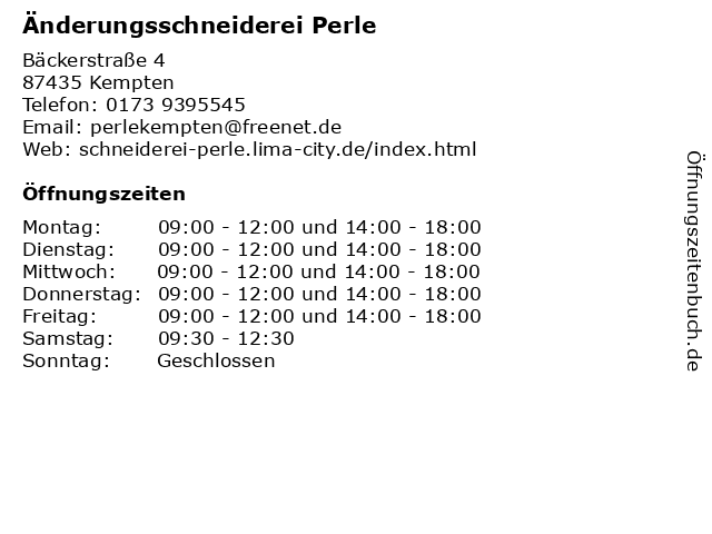 Änderungsschneiderei Perle in Kempten: Adresse und Öffnungszeiten