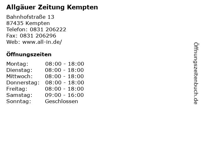 Allgäuer Zeitung Kempten in Kempten: Adresse und Öffnungszeiten