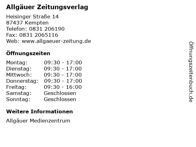 Allgäuer Zeitungsverlag in Kempten: Adresse und Öffnungszeiten