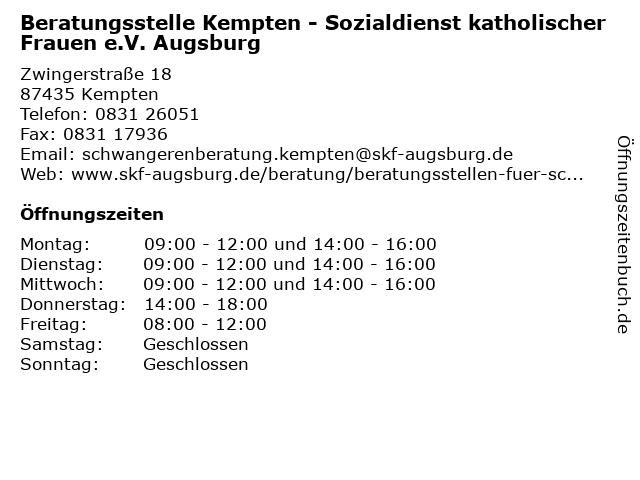 Beratungsstelle Kempten - Sozialdienst katholischer Frauen e.V. Augsburg in Kempten: Adresse und Öffnungszeiten