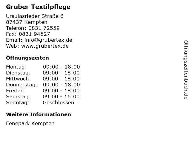 Gruber Textilpflege in Kempten: Adresse und Öffnungszeiten