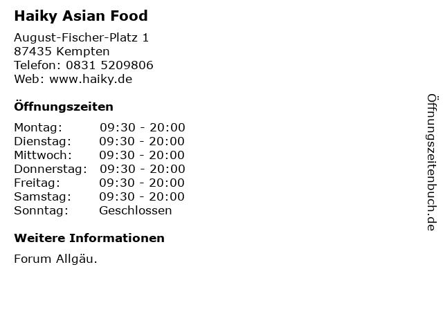 Haiky Asian Food in Kempten: Adresse und Öffnungszeiten