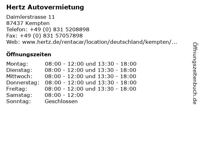 Hertz Autovermietung in Kempten: Adresse und Öffnungszeiten