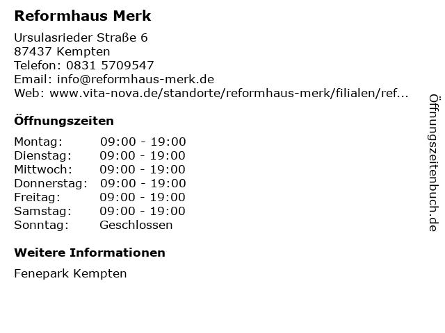 Reformhaus Merk in Kempten: Adresse und Öffnungszeiten