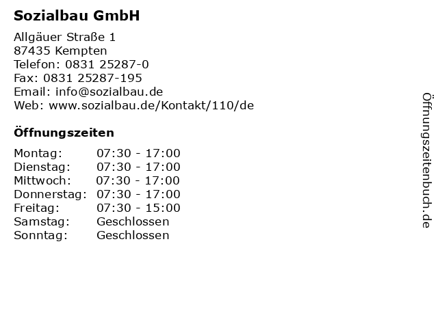 ᐅ öffnungszeiten Sozialbau Gmbh Allgäuer Straße 1 In Kempten