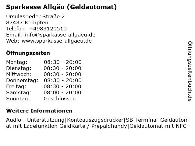Sparkasse Allgäu - (Geldautomat Kempten - Fenepark) in Kempten: Adresse und Öffnungszeiten
