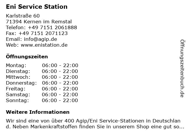 Agip Service Station in Kernen im Remstal: Adresse und Öffnungszeiten