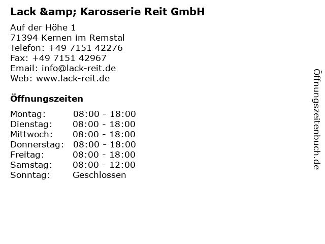 Lack & Karosserie Reit GmbH in Kernen im Remstal: Adresse und Öffnungszeiten