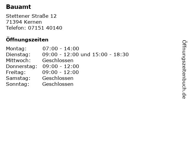 Bauamt in Kernen: Adresse und Öffnungszeiten
