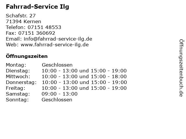 Fahrrad-Service Ilg in Kernen: Adresse und Öffnungszeiten