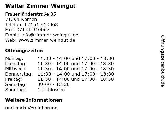 Walter Zimmer Weingut in Kernen: Adresse und Öffnungszeiten