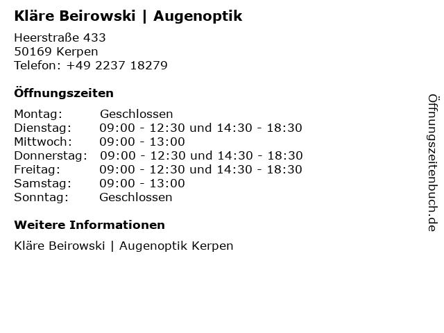 Augenoptik Beirowski in Kerpen: Adresse und Öffnungszeiten