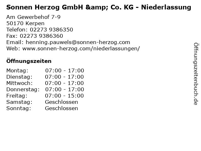 Sonnen Herzog GmbH & Co. KG - Niederlassung in Kerpen: Adresse und Öffnungszeiten