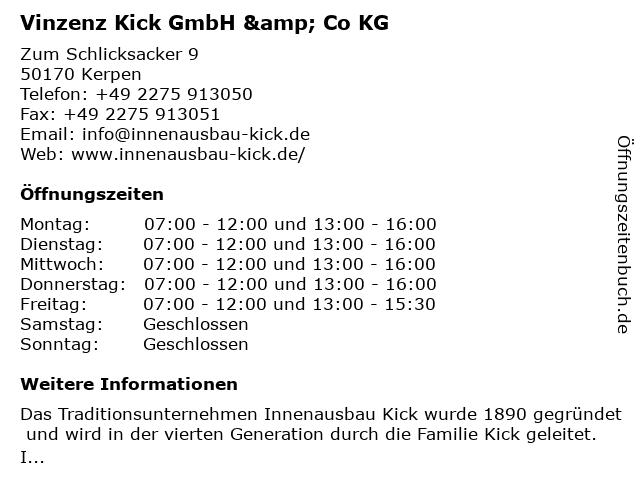 ᐅ Offnungszeiten Vinzenz Kick Gmbh Co Kg Zum Schlicksacker 9