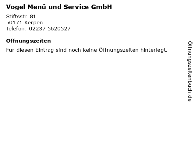 Vogel Menü und Service GmbH in Kerpen: Adresse und Öffnungszeiten