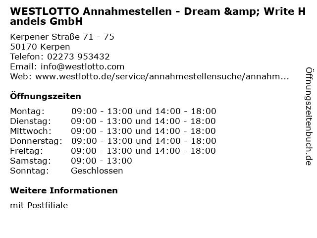 WESTLOTTO Annahmestellen - Dream & Write Handels GmbH in Kerpen: Adresse und Öffnungszeiten