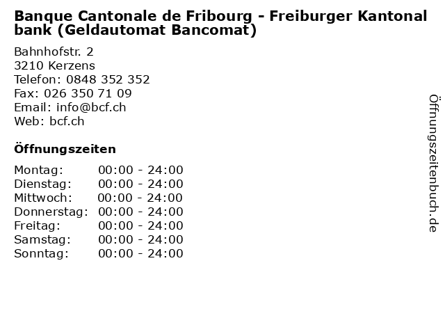 Banque Cantonale de Fribourg - Freiburger Kantonalbank (Geldautomat Bancomat) in Kerzens: Adresse und Öffnungszeiten