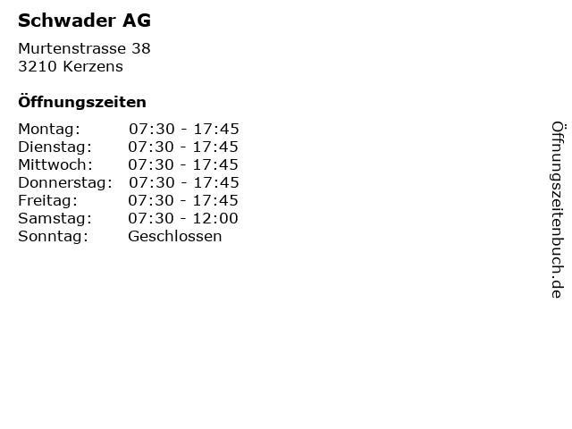 Schwader AG in Kerzens: Adresse und Öffnungszeiten