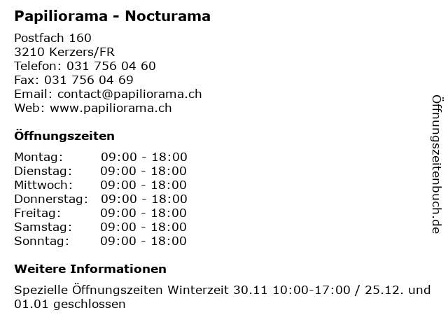 Papiliorama - Nocturama in Kerzers/FR: Adresse und Öffnungszeiten