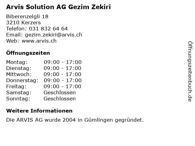 Arvis Solution AG Gezim Zekiri in Kerzers: Adresse und Öffnungszeiten
