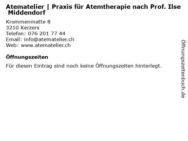 Atematelier | Praxis für Atemtherapie nach Prof. Ilse Middendorf in Kerzers: Adresse und Öffnungszeiten