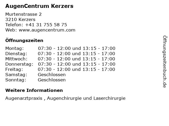AugenCentrum Kerzers in Kerzers: Adresse und Öffnungszeiten