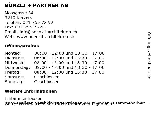 Bönzli + Partner AG in Kerzers: Adresse und Öffnungszeiten