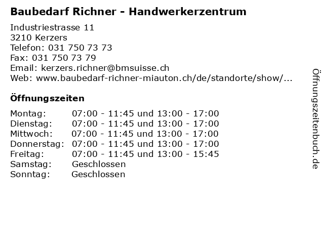 Baubedarf Richner - Handwerkerzentrum in Kerzers: Adresse und Öffnungszeiten