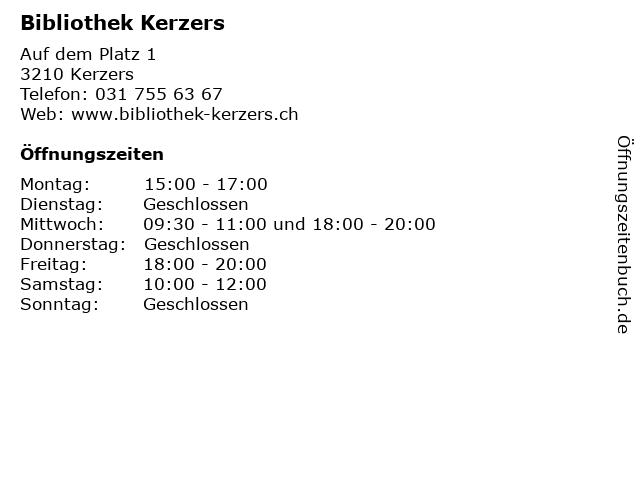Bibliothek Kerzers in Kerzers: Adresse und Öffnungszeiten