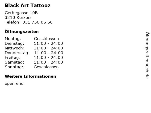 Black Art Tattooz in Kerzers: Adresse und Öffnungszeiten
