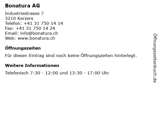 Bonatura AG in Kerzers: Adresse und Öffnungszeiten