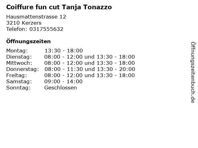 Coiffure fun cut Tanja Tonazzo in Kerzers: Adresse und Öffnungszeiten
