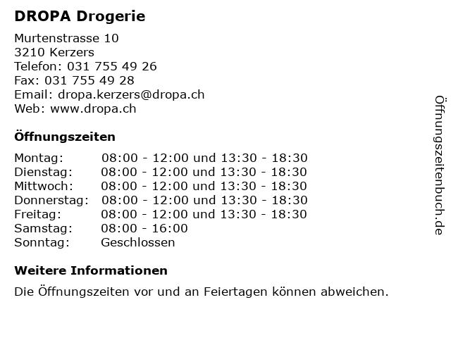 DROPA Drogerie in Kerzers: Adresse und Öffnungszeiten