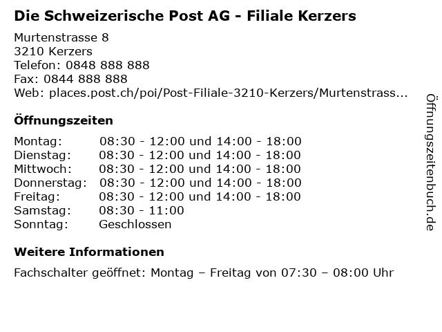 Die Schweizerische Post AG - Filiale Kerzers in Kerzers: Adresse und Öffnungszeiten