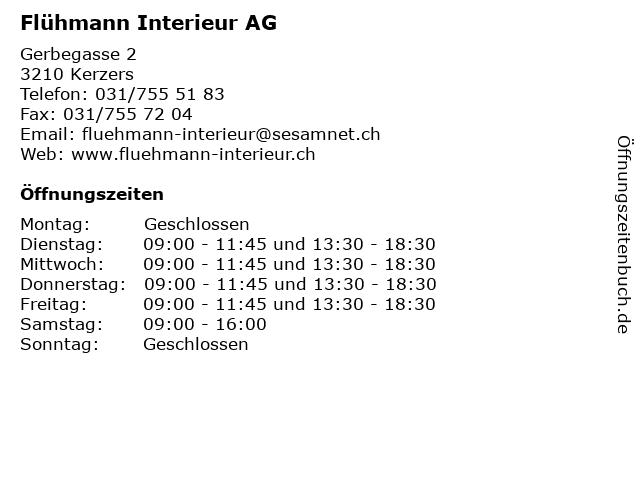 Flühmann Interieur AG in Kerzers: Adresse und Öffnungszeiten