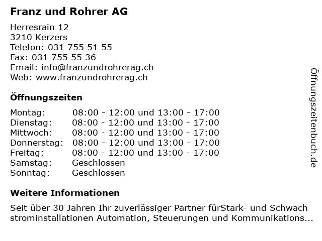Franz und Rohrer AG in Kerzers: Adresse und Öffnungszeiten