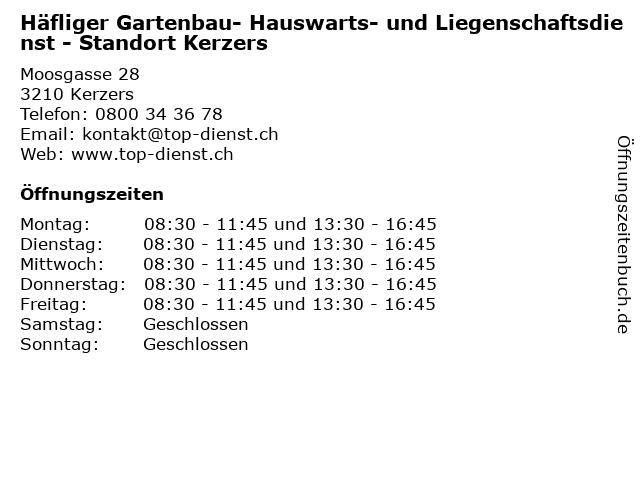 Häfliger Gartenbau- Hauswarts- und Liegenschaftsdienst - Standort Kerzers in Kerzers: Adresse und Öffnungszeiten