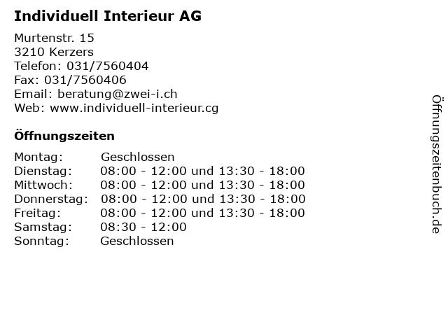 Individuell Interieur AG in Kerzers: Adresse und Öffnungszeiten