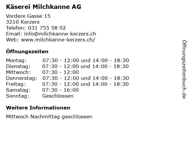 Käserei Milchkanne AG in Kerzers: Adresse und Öffnungszeiten