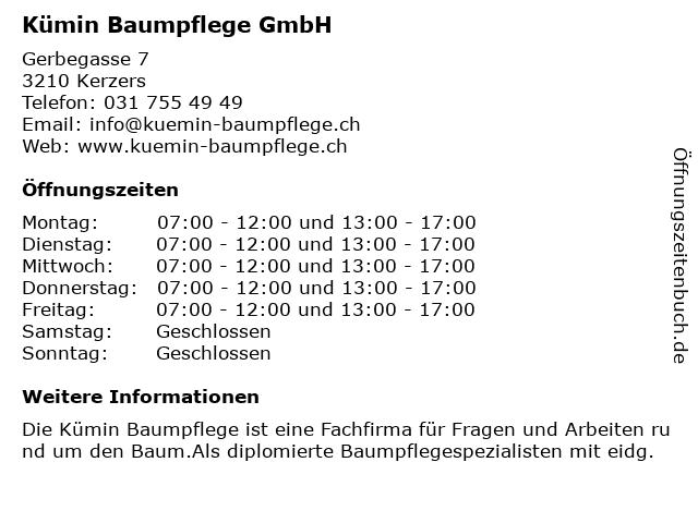 Kümin Baumpflege GmbH in Kerzers: Adresse und Öffnungszeiten