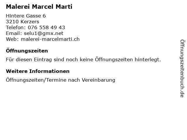Malerei Marcel Marti in Kerzers: Adresse und Öffnungszeiten