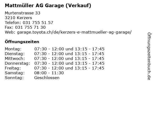 Mattmüller AG Garage (Verkauf) in Kerzers: Adresse und Öffnungszeiten