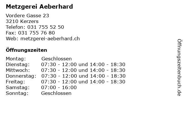 Metzgerei Aeberhard in Kerzers: Adresse und Öffnungszeiten