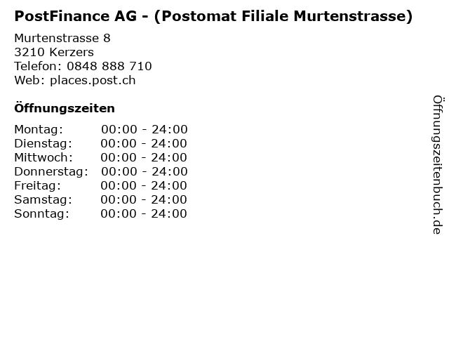 PostFinance AG - (Postomat Filiale Murtenstrasse) in Kerzers: Adresse und Öffnungszeiten