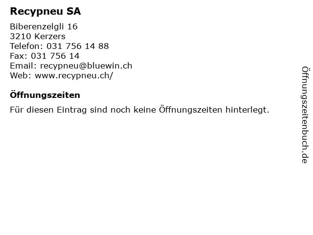 Recypneu SA in Kerzers: Adresse und Öffnungszeiten