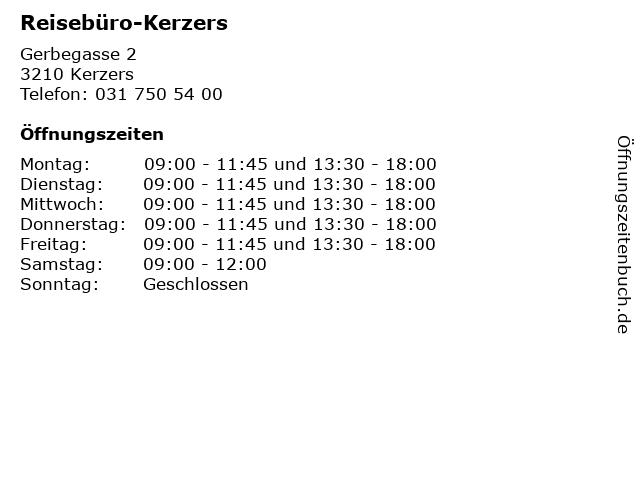 Reisebüro-Kerzers in Kerzers: Adresse und Öffnungszeiten