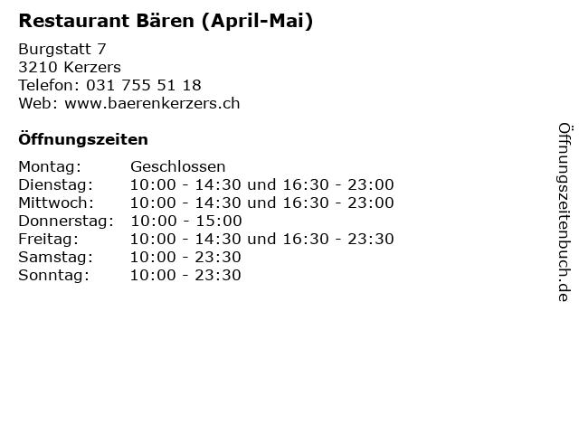 Restaurant Bären (April-Mai) in Kerzers: Adresse und Öffnungszeiten