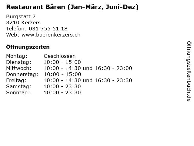 Restaurant Bären (Jan-März, Juni-Dez) in Kerzers: Adresse und Öffnungszeiten