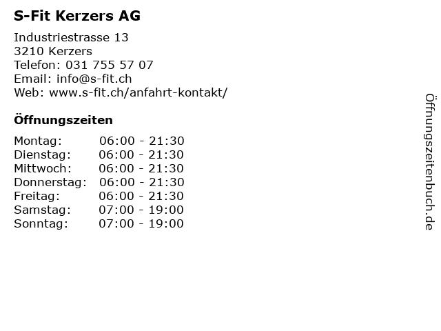 S-Fit Kerzers AG in Kerzers: Adresse und Öffnungszeiten