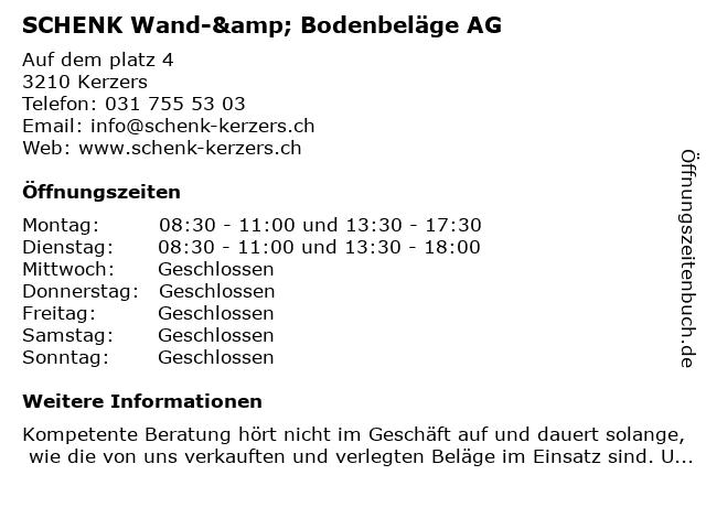 SCHENK Wand-& Bodenbeläge AG in Kerzers: Adresse und Öffnungszeiten